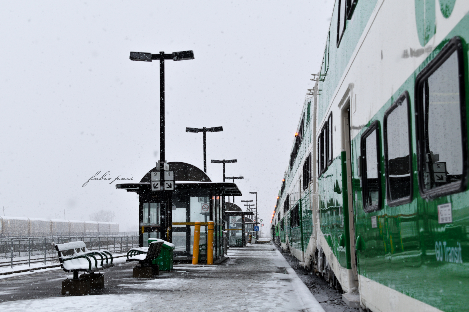 Snowy Train Station